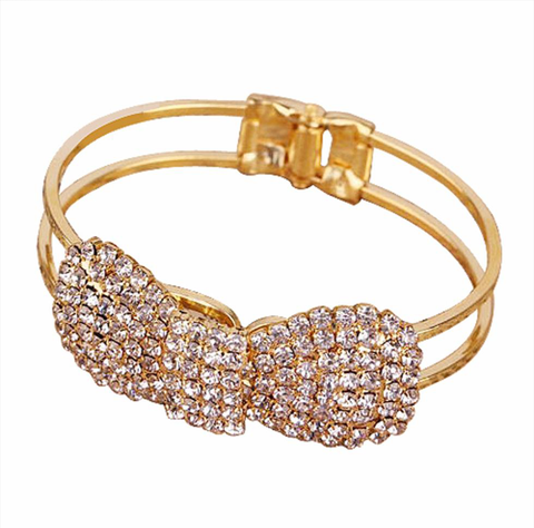 Rhinestone Bow Bangle Bracelet