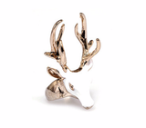 White And Gold Deer Head Ring