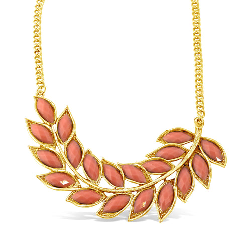 Pink Bohemian Leaf Necklace