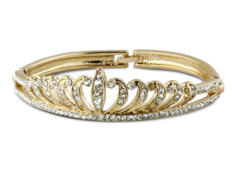 Crystal Gold Crown Bangle Bracelet
