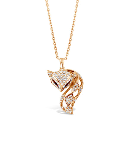 Gold Foxy Pendant Necklace