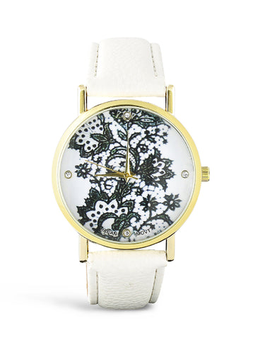 Black and White Lace Leather Watch