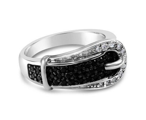 Black and White Gold Buckle Ring