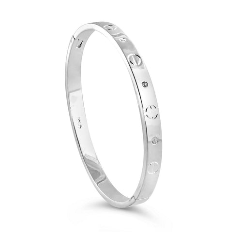 Silver Crystal Love Bangle Bracelet