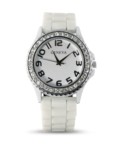 Rhinestone & Silicone Rubber Watch -White