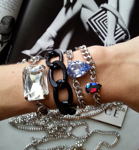 matte black flat chain bracelet and crystal bracelets