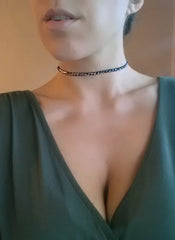 black and silver leather choker