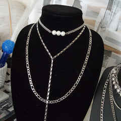 pearl choker necklace with dash lasso chain