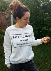 ballinciaga black and white sweatshirt NYC