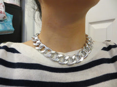 silver curb chain statement necklace hrh