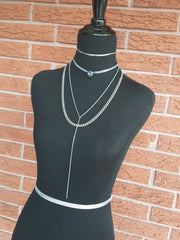 stainless steel jewelry crystal choker, lariat and curb chain necklaces