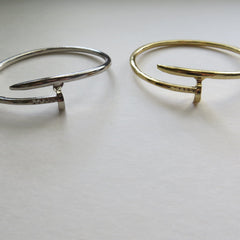 gold and silver nail cuff bracelet