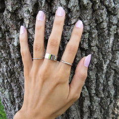 3 set silver midi band rings