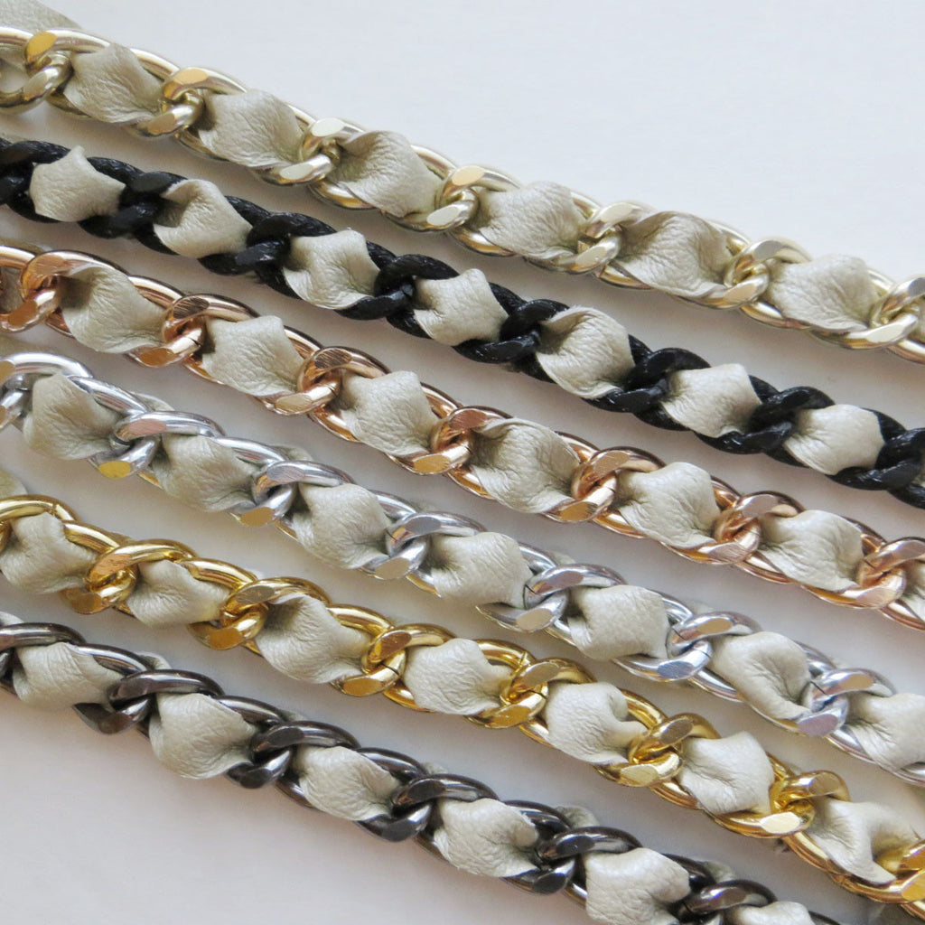 ivory leather woven curb chain bracelets hrh collection