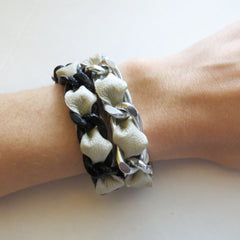 silver and black chain white leather woven bracelet hrh collection