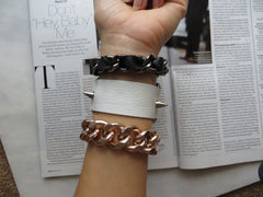 Hardware Cuff Spike Bracelet White or Black Genuine Leather w/ Rivets