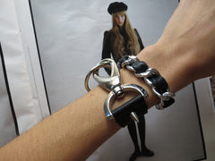 hardware cuff bracelet with black leather hrh style