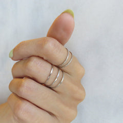 thin silver band stacking rings