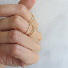 Thin Gold or Silver Band Layering and Stacking Rings - Set of 5