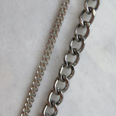 Heavy Weight Silver Layering Curb Chain Bracelet