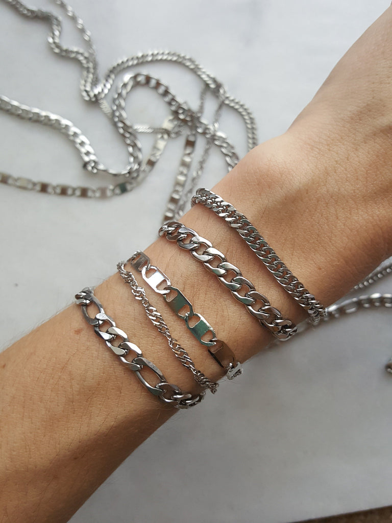 stainless steel non tarnishing layering chain bracelets