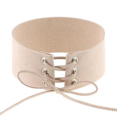 nude corset lace up wide choker necklace hrh collection