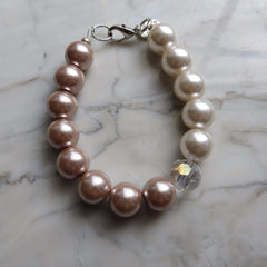 pale pink and dusty pearl with crystal hrh collection style bracelet