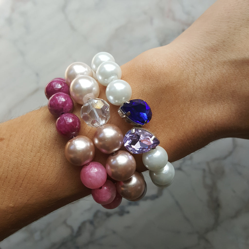 stacked pearl crystal and beaded bracelets arm candy