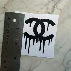 chanel dripping logo sticker for phone and tumbler