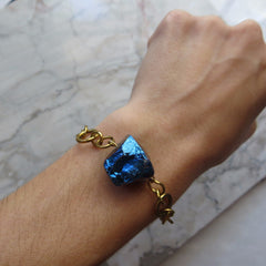 blue rock quartz crystal on vintage chain bracelet