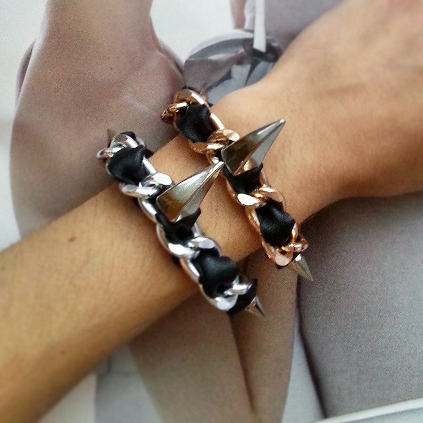 spiked bracelet rose gold and silver leather hardware braelet hrh