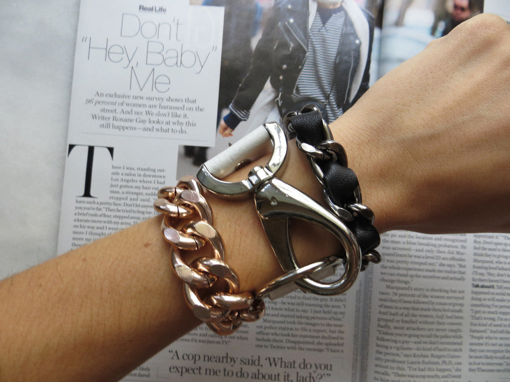 white leather and silver hardware cuff hrh style spike bracelet