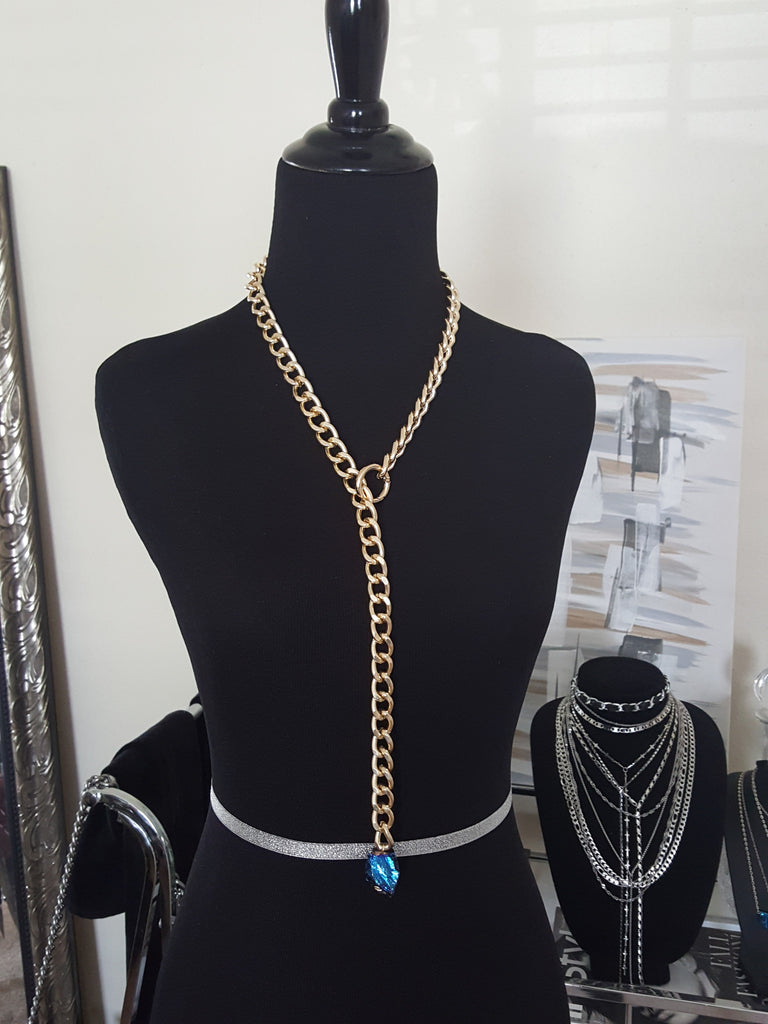 gold statement lariat chain necklace with rock crystal stone