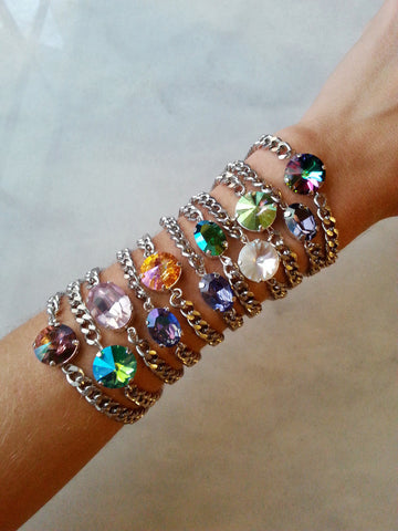 swarovksi crystal round and oval bracelets