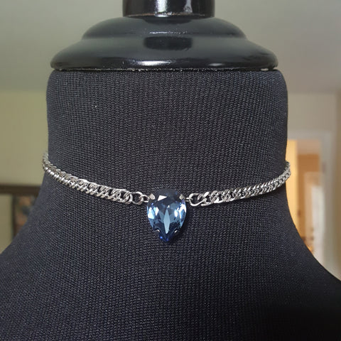 denim blue swarovski crystal choker necklace on chain