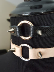 blush and black leather choker necklace with spike rivets