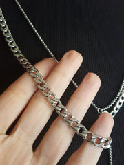 flat link stainless steel curb chain necklace hrh style