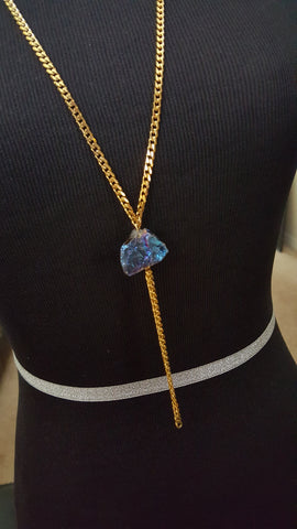 gold chain with titanium quartz crystal and tassel