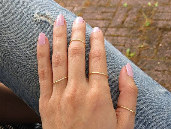 handmade gold plated layering rings