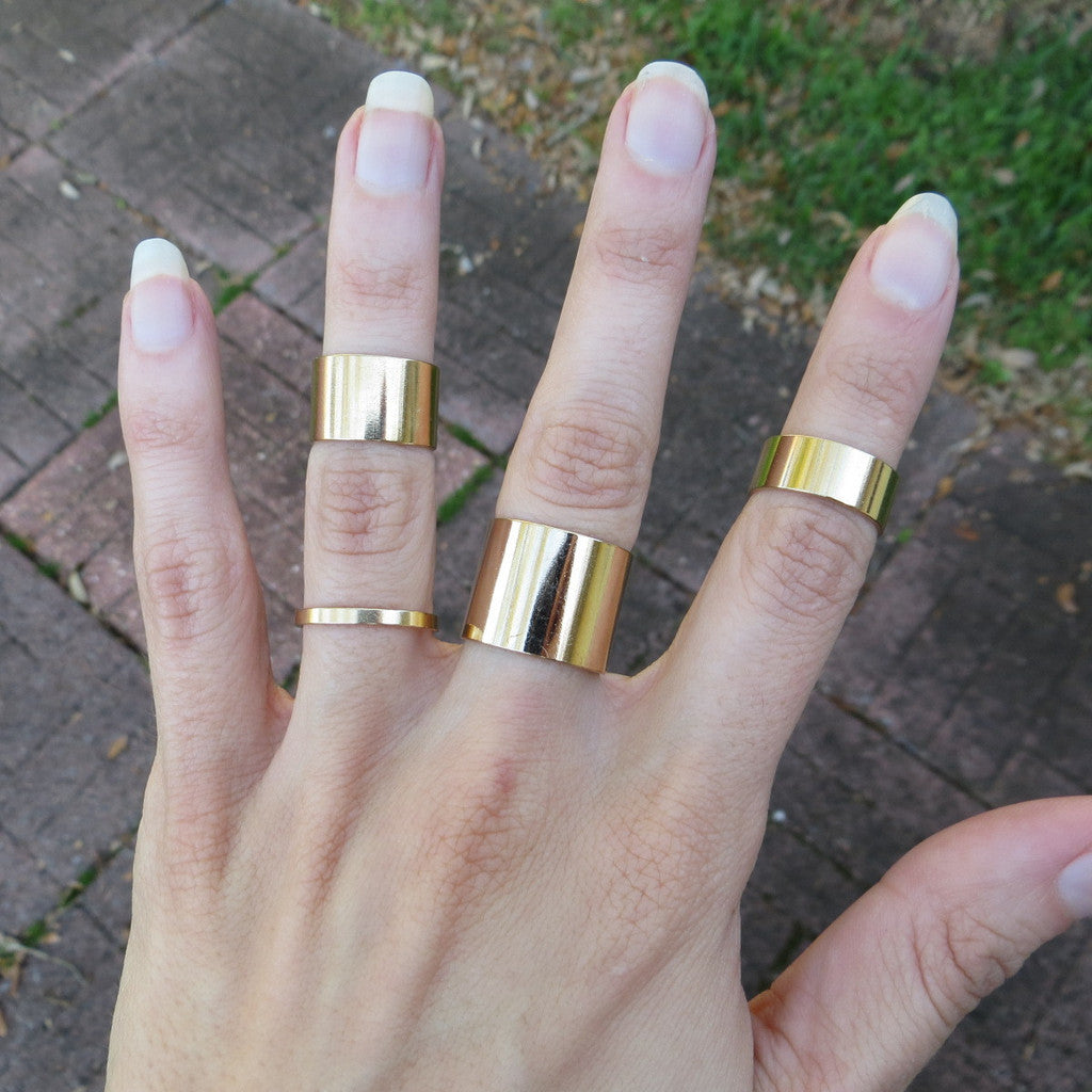 gold tube midi stacking rings