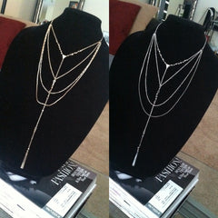 gold and silver multi layer choker and drop necklace set