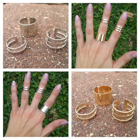 silver and gold midi ring set