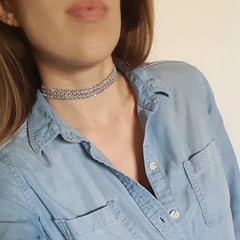 Cinderella Rhinestone Ribbon Choker Necklace