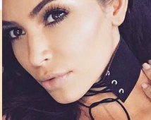 kim kardashian lace up corset choker necklace