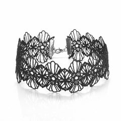 black wide lace flower choker necklace hrh collection style