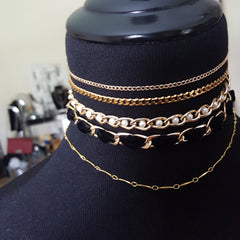 layered necklace, choker necklace and chains