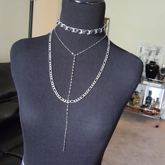 petite curb choker necklace, lariat and fiagro chain layered jewelry