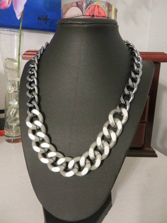 chunky matte silver and gunmetal chain necklace