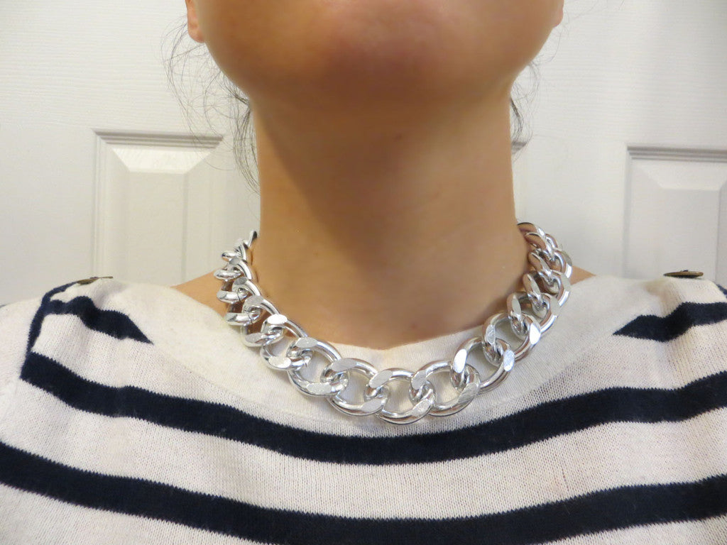 chunky silver curb chain necklace hrh collection