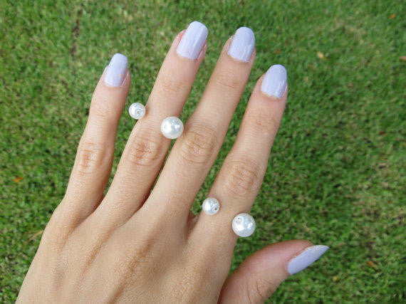 double pearl hand made midi ring